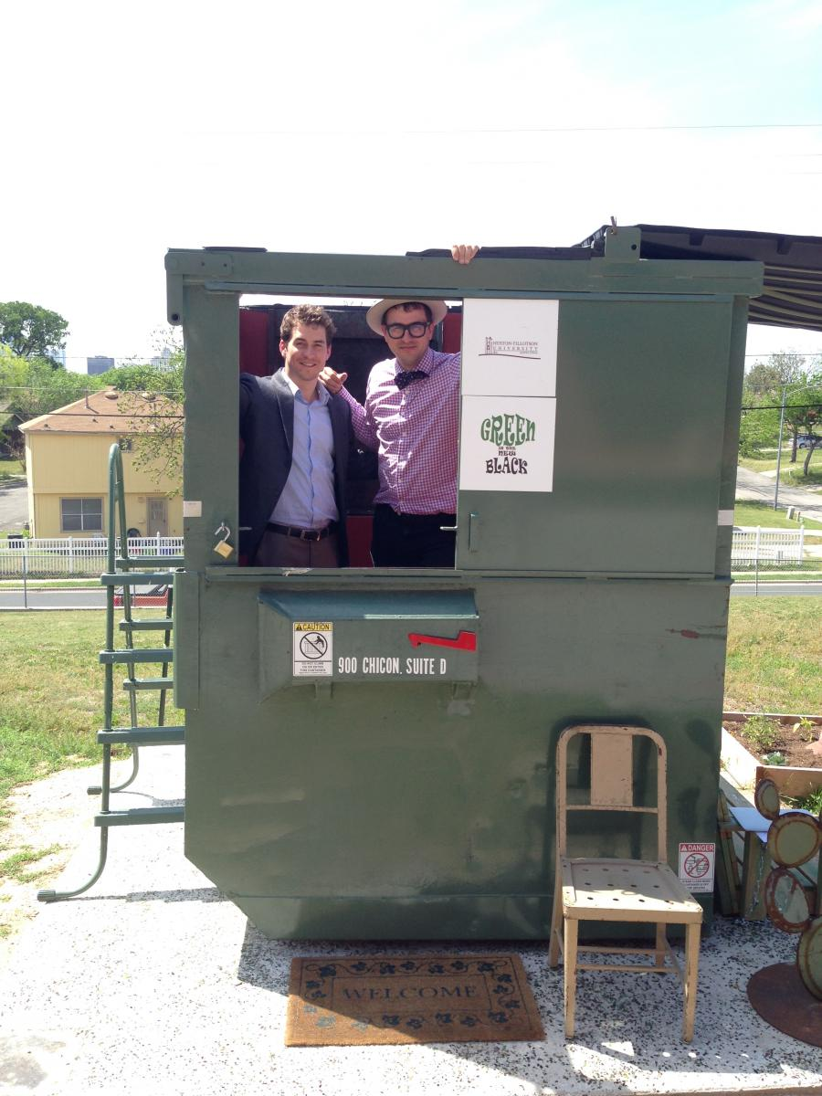 Andy Ferris and Dr. Jeff Wilson pictured here in Wilson's home- as part of the Dumpster Project, a sustainable living experiment, Wilson is living in the dumpster for a full year.