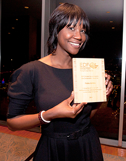 Fatou Jabbie receiving her 2014 Fellowship Award