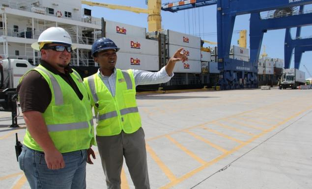 Port Freeport Operations Manager, Jesse Hibbetts, provides a tour of Berth 7 at the Velasco Terminal.